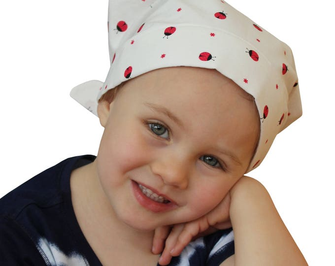 Featured listing image: Mia Children's Head Cover, Girl's Cancer Headwear, Chemo Scarf, Alopecia Hat, Head Wrap, Cancer Gift for Hair Loss - Ladybugs