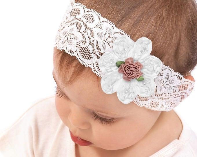 SPECIAL! Baby Girl Headband, Newborn Girl Headband, Newborn Girl Outfit, Baby Girl Bow, Pink Flower, Lace Headband, Baby Girl Accessories