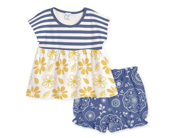 SUMMER SPECIAL! Baby Girl Summer Outfit, Baby Girl Top, Baby Girl Bloomers, Blue Floral Bloomers, Baby Navy Outfit Yellow TB020BIHT0000