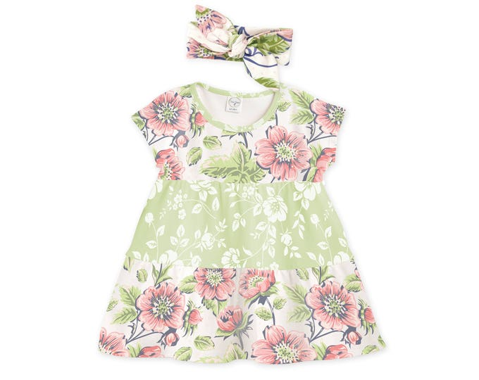 Baby Girl Dress, Baby Girl Summer Outfit, Baby Girl Outfit Summer, Vintage Floral Green Baby Dress, Pink Green Dress TesaBabe DR780RGPF0000