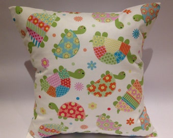Tortoise cushion, Children's pillow, tortoise pillow, children's cushion, new baby cushion, nursery cushion, bright nursery cushion