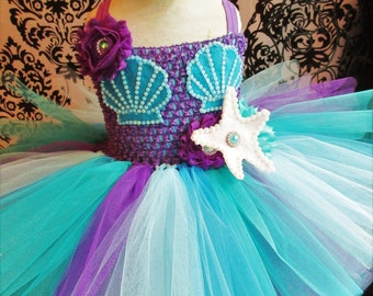 Turquoise Mermaid Dress/Mermaid Costume/Mermaid Party Dress/Birthday Outfit/Under the Sea Party/Baby Girl Dresses/Teal Mermaid/Purple tutus