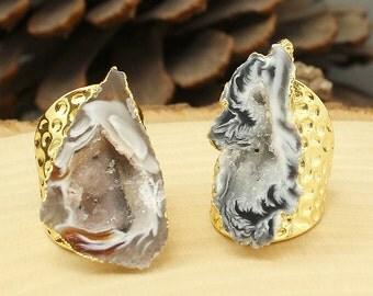 Agate Ring Sz 7, Gold Agate Ring, Raw Agate Ring, Agate Slice Ring, Agate Slice Gemstone Ring, Agate Slice Crystal Ring, Agate Boho Ring