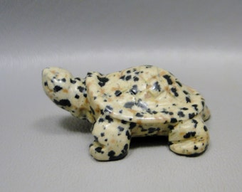 Turtle Carving Dalmatian Jasper Small Carved Animal Healing Stone Fetish Gemstone #e1