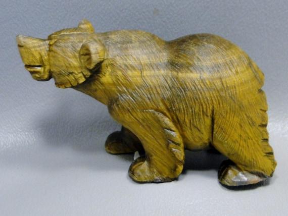 Bear carving tigereye carved animal healing stone fetish