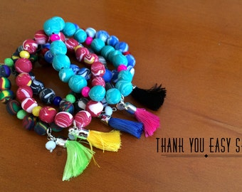 Colorful polymer clay bracelet with charms