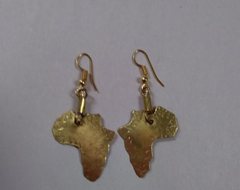 Small Map of Africa Brass Earrings