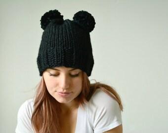 Chunky Knit Hat, Knit Beanie, Knit Hat, Double Pom Pom Beanie\Mouse Ear Hat\Bear Ears Beanie \THE KURUK\ Black