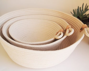 Beautiful Natural Cotton Rope Basket // Handmade in Paris // Basket with Leather Detail // Storage Basket // Three Sizes // Gift Idea
