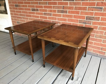 Vintage Pair of Lane Acclaim Inlaid Wood Side End Tables Two Tiers Mid Century Modern