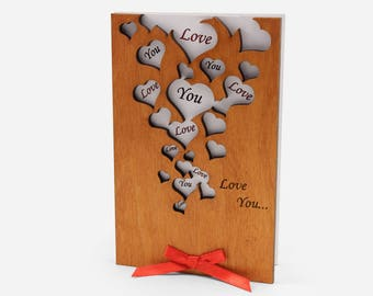 Valentines Day Cards, Card For him, Card For Her, I Love You Card,  Valentine Gifts, Love Presents, Gift Love, Anniversary Card, Wood Cards
