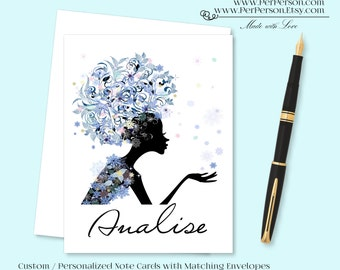 Free Ship!  Set of 12 Personalized / Custom Notecards, Boxed, Blank Inside, Woman, Silhouette, Female, Swirls, Snowflakes, Monogram, Name