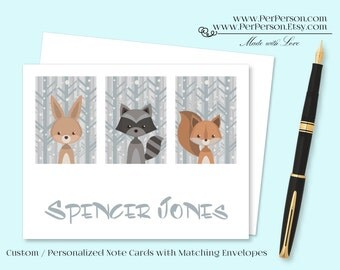 Free Ship!  Set of 12 Personalized / Custom Notecards, Boxed, Blank Inside, Bunny, Raccoon, Squirrel, Monogram, Name, Initials