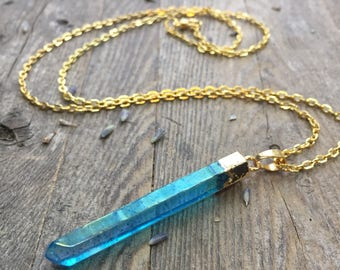 Aqua Aura Necklace Quartz Crystal Necklace Healing Crystals and Stones Rainbow Crystal Blue Titanium Crystal Raw Crystal Chakra
