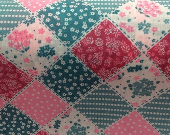Patchwork Poly Cotton Fabric, Pink and blue, craft fabric, QUARTER METRE