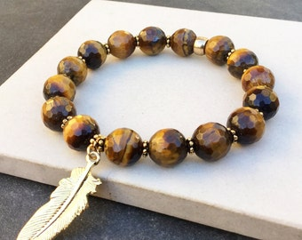 Tiger's eye and gold feather  bracelet - Stretch bracelet - Buddha bracelet - Mala bracelet - Boho gypsy bracelet - Stackable bracelet -