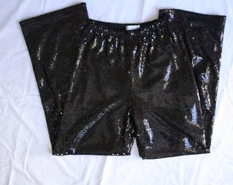 Vintage Black Sequin Wide Leg Pants Size Small