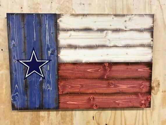 "21""x32"" Handmade Wooden Dallas Cowboys Texas Flag"