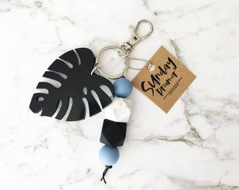Monstera & Silicone beaded key chain