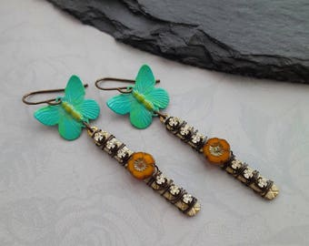 Bohemian Wire Wrapped Butterfly Earrings