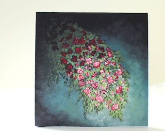 Flower Painting, Red Floral Art, Canvas Panel, Impressionist Painting, Home Decor, Small Canvas, Original Painting, Mini Painting, Florals