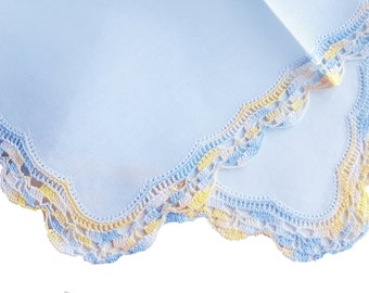 Vintage blue cotton handkerchief with handmade lace