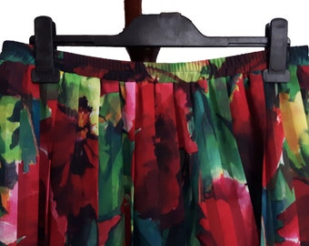 Vintage pleated abstract floral skirt No. 44