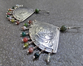 Etched Antique Silver Tribal Wide Fan Earrings - Beaded Multi Colour Indian Agate Gemstones - Titanium, Niobium OR Sterling Silver Ear Wires