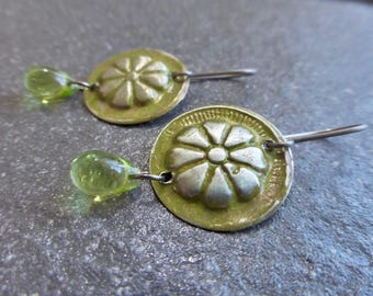 Hand Painted Turkoman Floral Coin Earrings With Peridot Green Czech Glass Drops - Hypoallergenic Titanium OR Niobium Ear Wires - Gypsy Boho