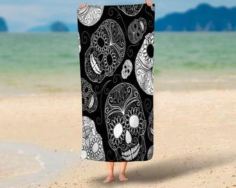 Sugar Skull Beach Towel  Black White  , 36 in x 72 in