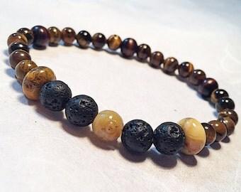 Mens bead bracelet, mens brown bracelet, natural stone mens bracelet, mens stretch bead bracelet, mens tigereye bracelet, mens yoga bracelet