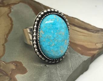Turquoise Mountain Simple Ring. Sterling Silver.