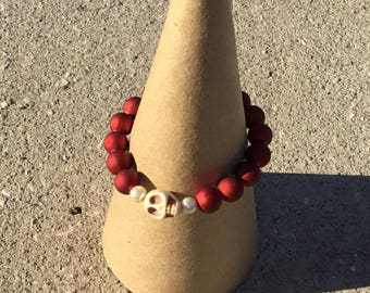 Elegant Red Beaded Skull bracelet