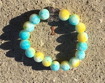 Butterfly Spring Beaded Bracelet