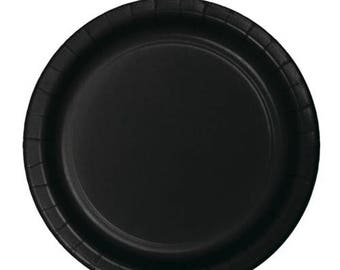 10 Ct Sturdy 9 Inch disposable Velvet Black Paper Plates - Dinner - Luncheon Size Plates - Wedding - Anniversary - All Occasion