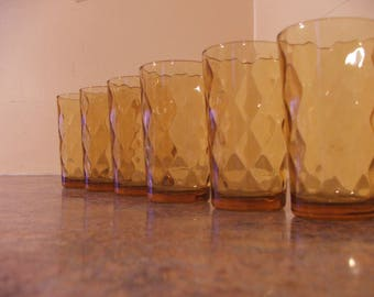 Vintage Set of Six (6) 1970s Anchor Hocking Amber Optic Diamond / Honeycomb Juice Glasses