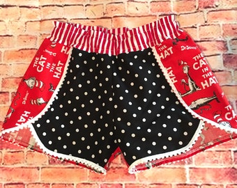 Mandy's Closet Boutique Petal Pompom Shorts Red and Black Dr Suess Cat in the Hat Girls Size 8