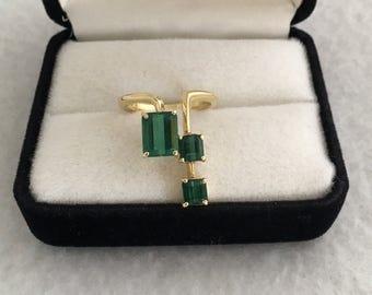 Heirloom 18K Gold 2.75cts Tourmaline Genuine Gemstones Unique Art Deco Estate Ring 750 Yellow Gold