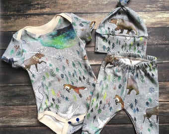 Organic Baby Outfit - Call of the Wild, natural baby clothes, neutral baby outfit, organic modern baby, organic going home, outdoor baby