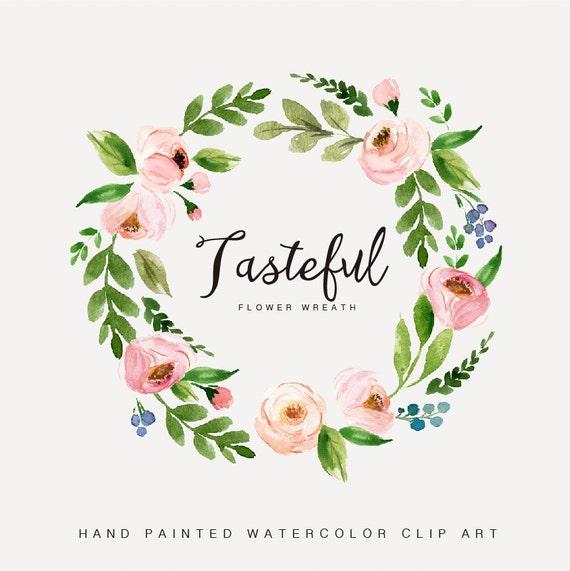 Watercolor Flower Wreath Clipart Tasteful Hand Painted Wedding