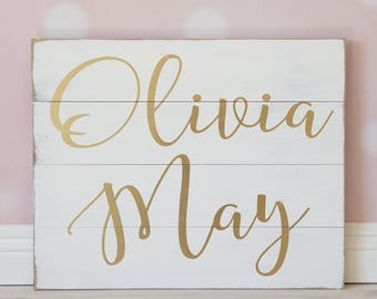 Name Sign, Girl Nursery Sign, Hand Painted Calligraphy, Nursery Name Sign, Customized Personalized, Boho Chic Nursery, Girl Bedroom, Gold