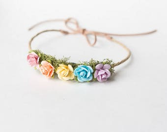 Rainbow Headband, Rainbow Baby, Unicorn Headband, Rainbow Crown, Newborn Flower Crown, Rainbow Photo Prop, Baby Flower Crown Headband
