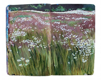 "Fine Art Print of Finnish Landscape Painting from Artist Travel Journal – ""Wild Flowers on Korpo Island, Finland"""
