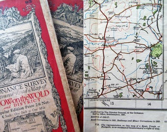 Characterful duo of vintage cloth-backed Ordnance Survey maps~1930s~Gorgeous to display with antique luggage & a great photo prop