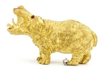 George Lederman Hippo Brooch in Yellow Gold with Diamond and Rubies