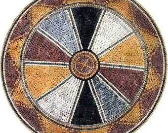Roman Mosaic Art Medallion - Ruota