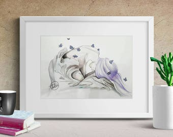 Emerge - watercolour painting print
