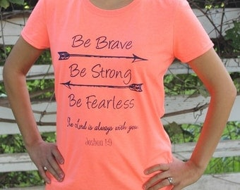 BE BRAVE Ladies Christian T-shirt - Retro Heather Coral - ORIGINAL!