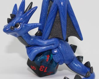 Pearl Blue and Graphite Dice Dragon-Polymer Clay