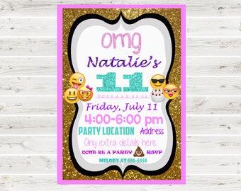 Emoji Invitation, Emoji Glitter Invitation, Emoji Justice Invitation, Emoji Birthday, Emoji Invite, Emoji Glitter, Emoji Birthday Invitation